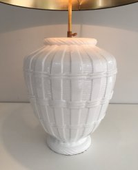 Vintage White Ceramic Table Lamp for sale at Pamono