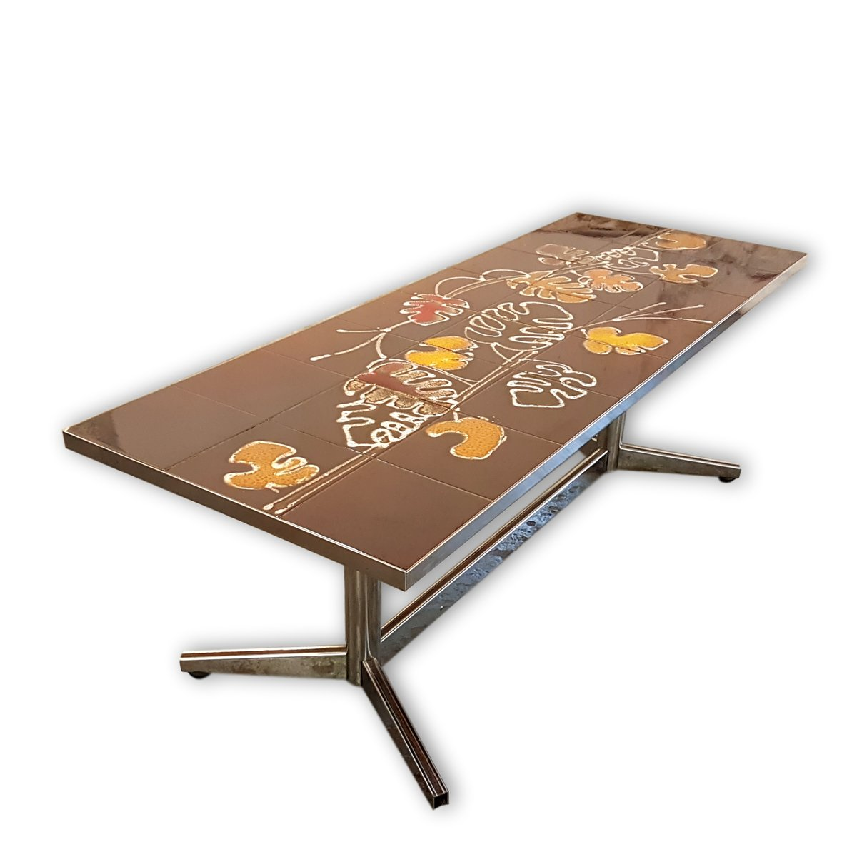 Tavolino con piastrelle e disegno di foglie marroni e arancioni anni 60 in vendita su Pamono