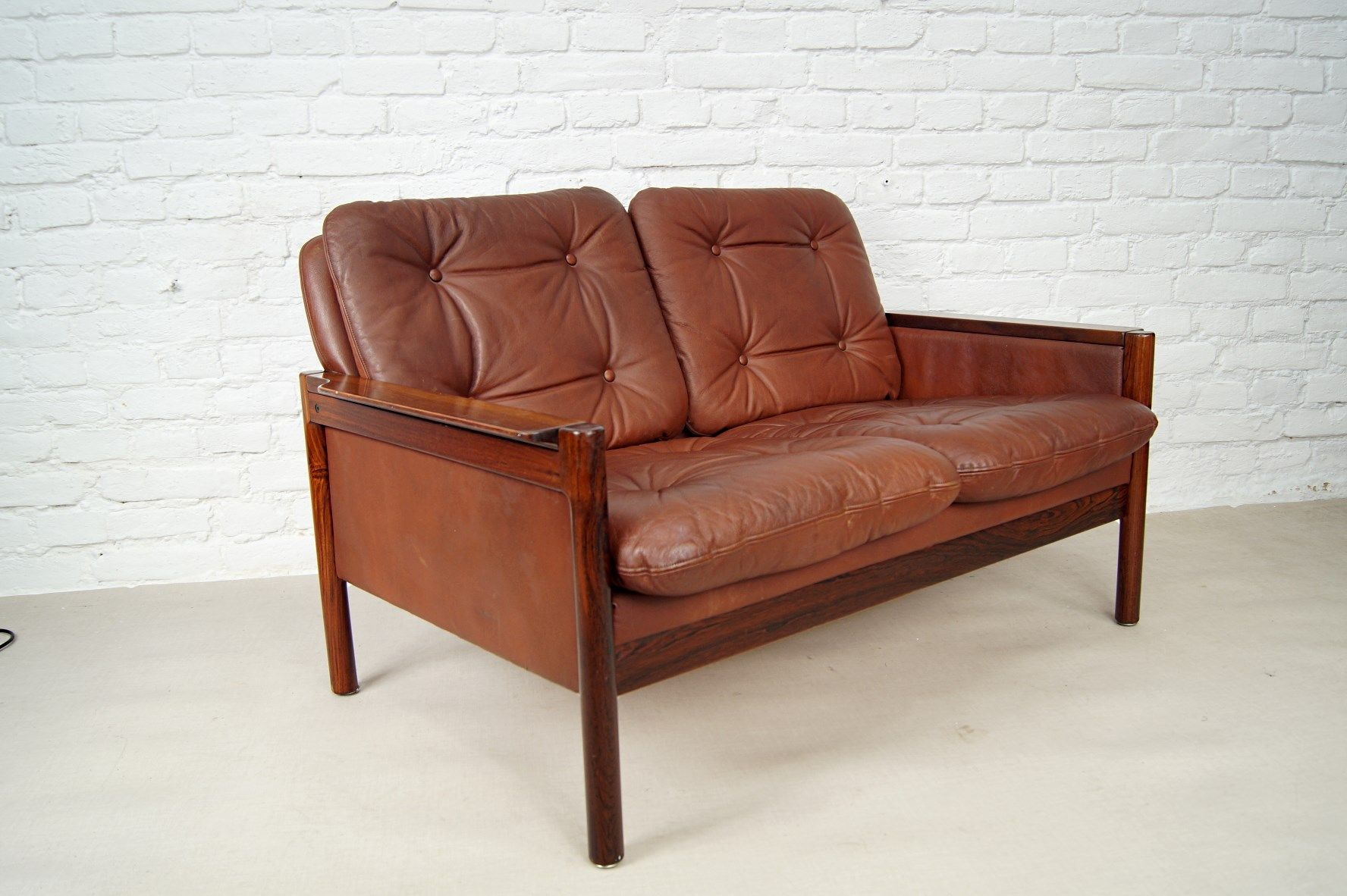 sofa rose wood restoration hardware maxwell leather danish rosewood and 2 seater 1970s for sale at