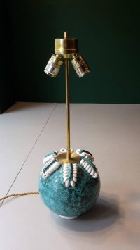 Vintage Turquoise & White Ceramic Table Lamp for sale at ...