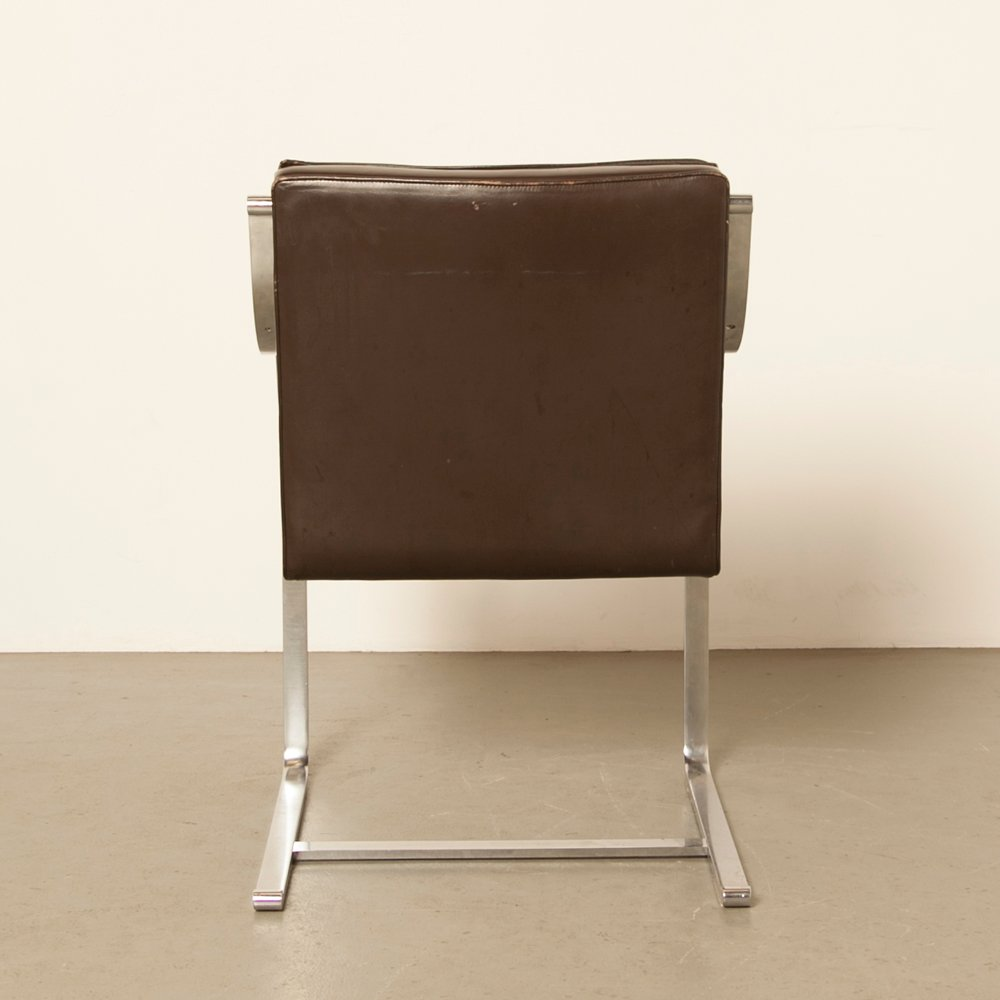 Vintage Brown Leather Office Chairs from Knoll