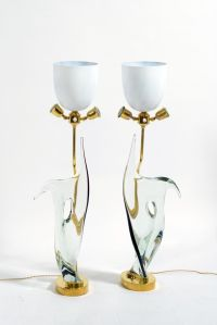 Mid-Century Table Lamps in Murano Glass & Brass from ...