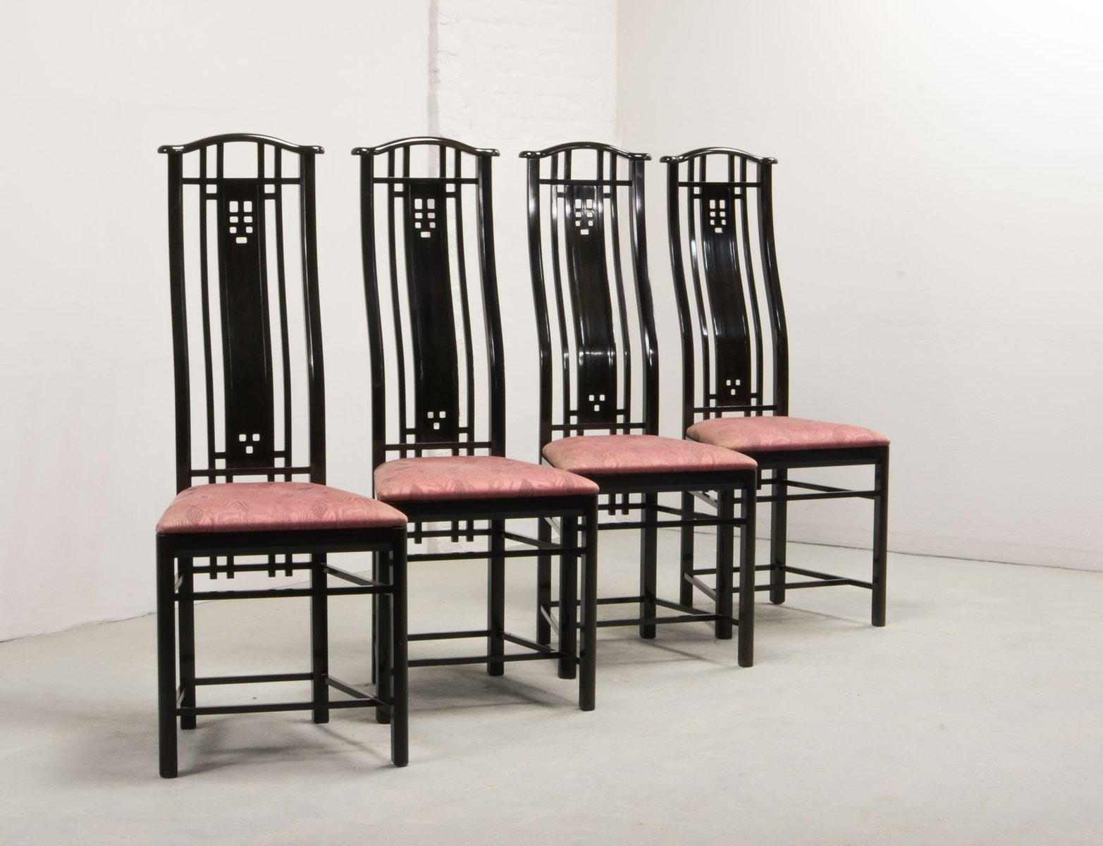 high back dining chair pride electric lift chairs from giorgetti 1980s set of 4 for sale at