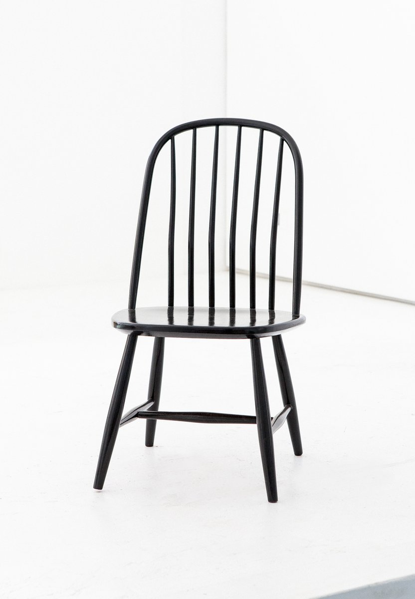 Windsor Chairs Black Black Wooden Dining Chairs By Bengt Akerblom G Eklöf For Akerblom 1950s Set Of 6