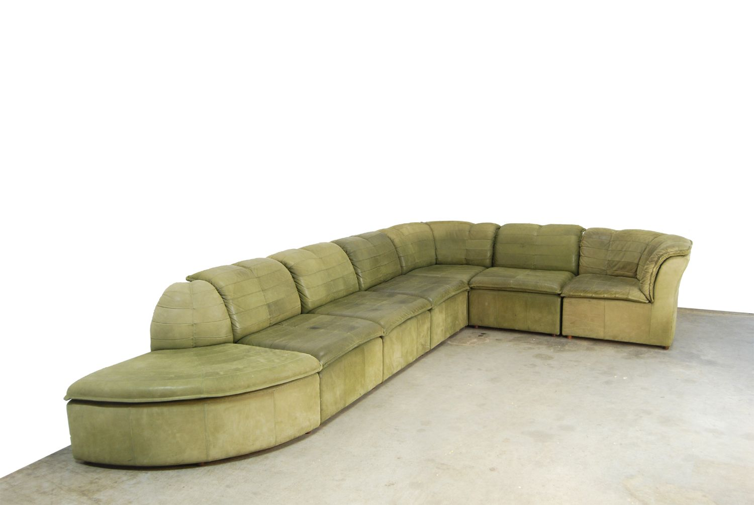 nubuck leather sofa teal chenille bed modular from laauser 1970s for sale