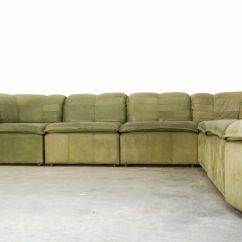 Nubuck Leather Sofa Ashley Convertible Modular From Laauser 1970s For Sale
