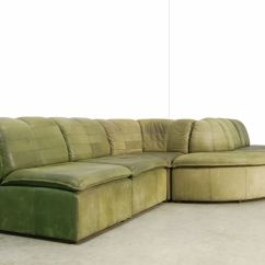 Nubuck Leather Sofa Metal Glider Modular From Laauser 1970s For Sale