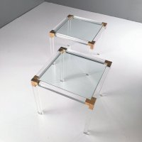 Lucite and Brass Coffee Tables by Charles Hollis Jones ...