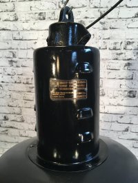 Mid-Century Black Enamel Factory Lamp for sale at Pamono