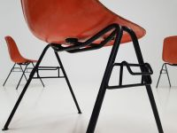 Orange DSS Fiberglass Stacking Chair by Charles & Ray ...