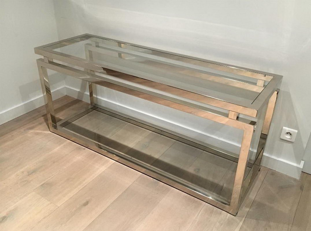 vogue chrome sofa table sofas for small rooms with design large modern console 1970s sale at pamono