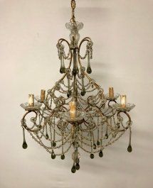 Vintage Murano Glass & Crystal-beaded Macaroni Chandelier