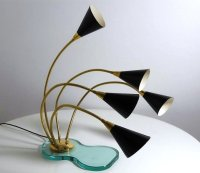 5-Light Table Lamp on Glass base, 1960s for sale at Pamono