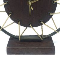Mid-Century French Wooden Table Clock for sale at Pamono