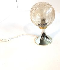 Small Mid-Century Table Lamp with Crackle Glass Shade ...