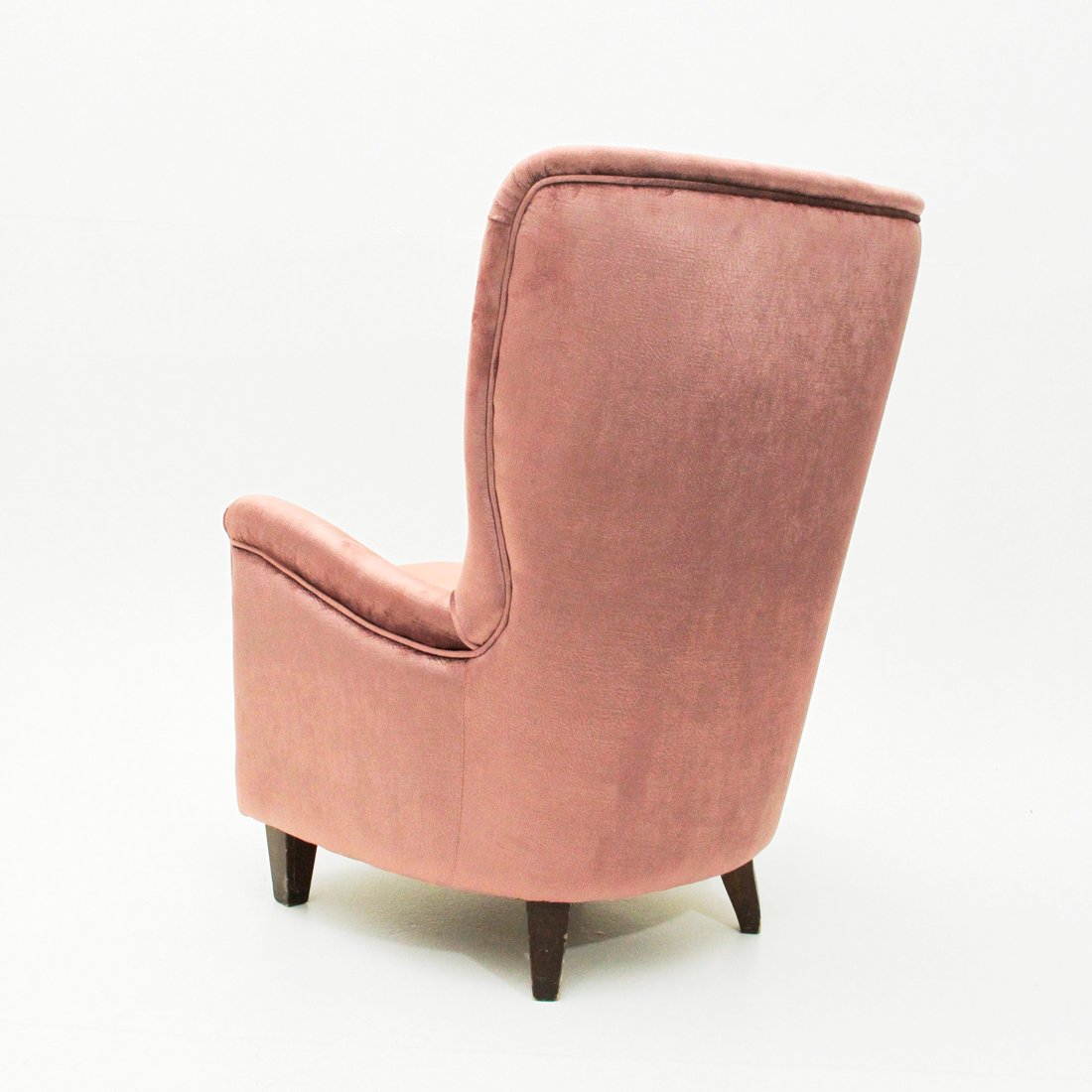 Italian Pink Velvet Lounge Chair, 1950s for sale at Pamono