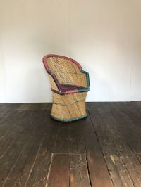 Mid-Century Multi-Colored Wicker Peacock Chair for sale at ...