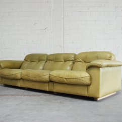 De Sede Sofa Vintage Solid Oak Futon Bed Ds 101 Olive Green Leather From For