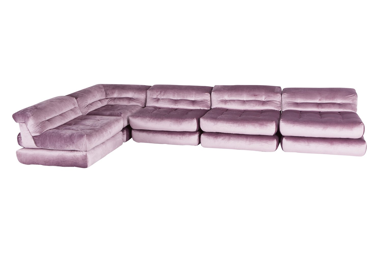 the mah jong sofa from ligne roset mid century style bed uk modular in purple velvet by hans hopfer