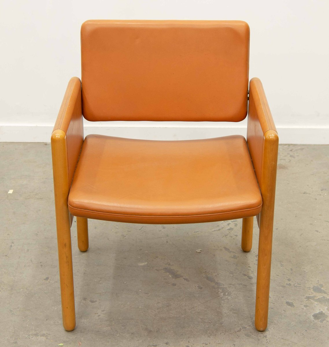 Leather And Wood Chair Leather And Wood Armchair From Knoll International 1980s