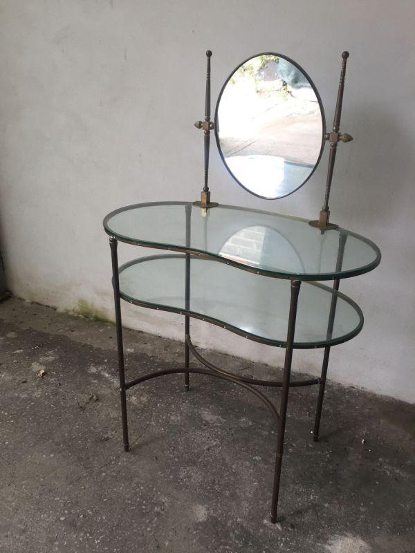 Glass Vanity Table With Mirror 1960s Pamono