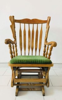 Italian Rocking Chair with Ottoman, 1960s for sale at Pamono