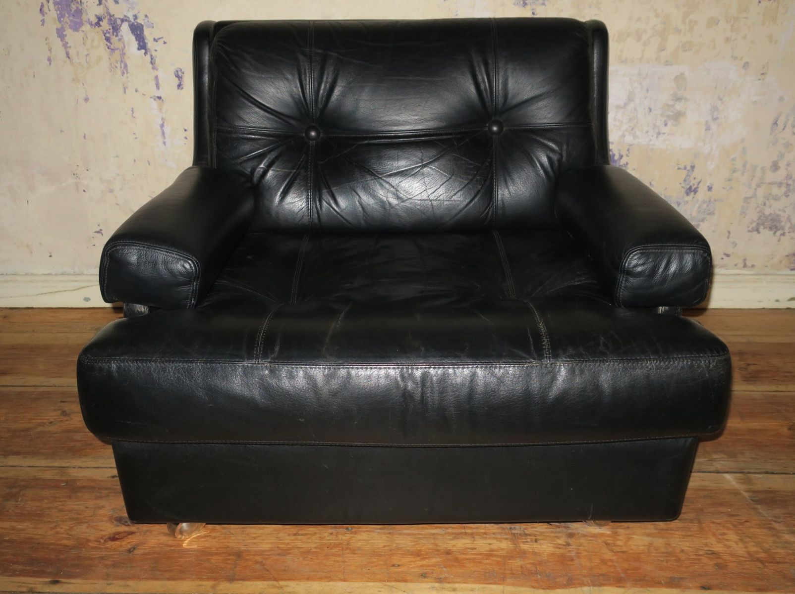 Black Leather Lounge Chair Black Leather Lounge Chair From Dux 1960s