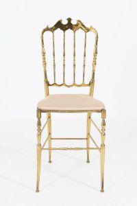 Italian Mid-Century Modern Chiavari Chair in Brass, 1950s ...