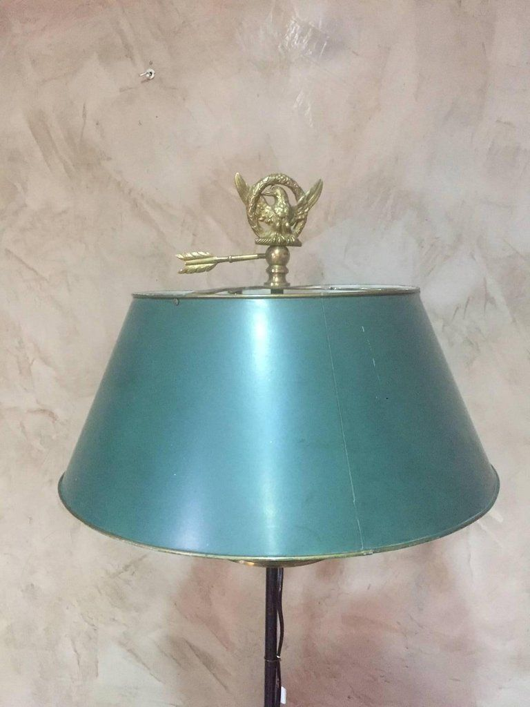 Antique French Empire Style Bronze & Metal Floor Lamp for