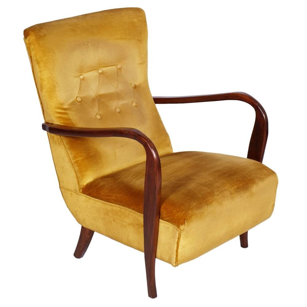 Danish Modern Lounge Chair Mid Century Modern Walnut Velvet Lounge Chair 1940s