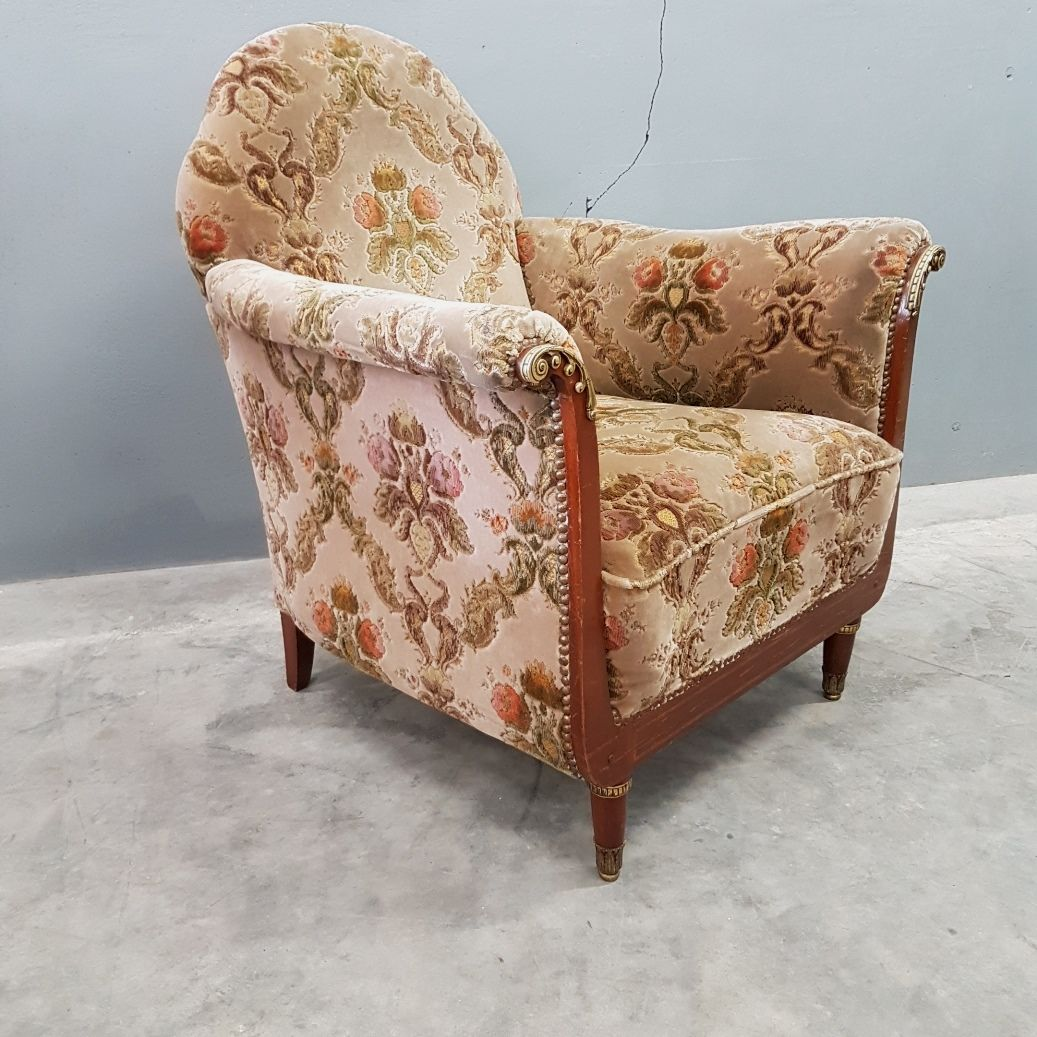 Velvet Club Chair Antique Italian Velvet Club Chairs With Brass Elements