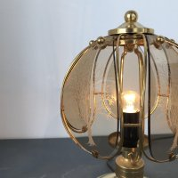 Mid-Century Brass & Etched Glass Table Lamp from Wortmann ...