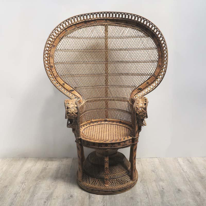 vintage peacock chair high back outdoor in wicker 1970s for sale at pamono price per piece