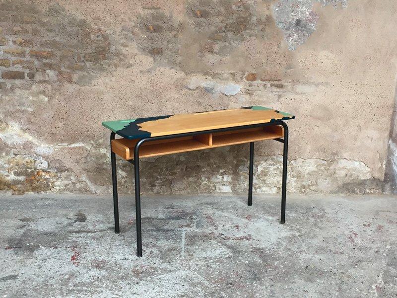 bureau d ecolier vintage bleu vert en chene