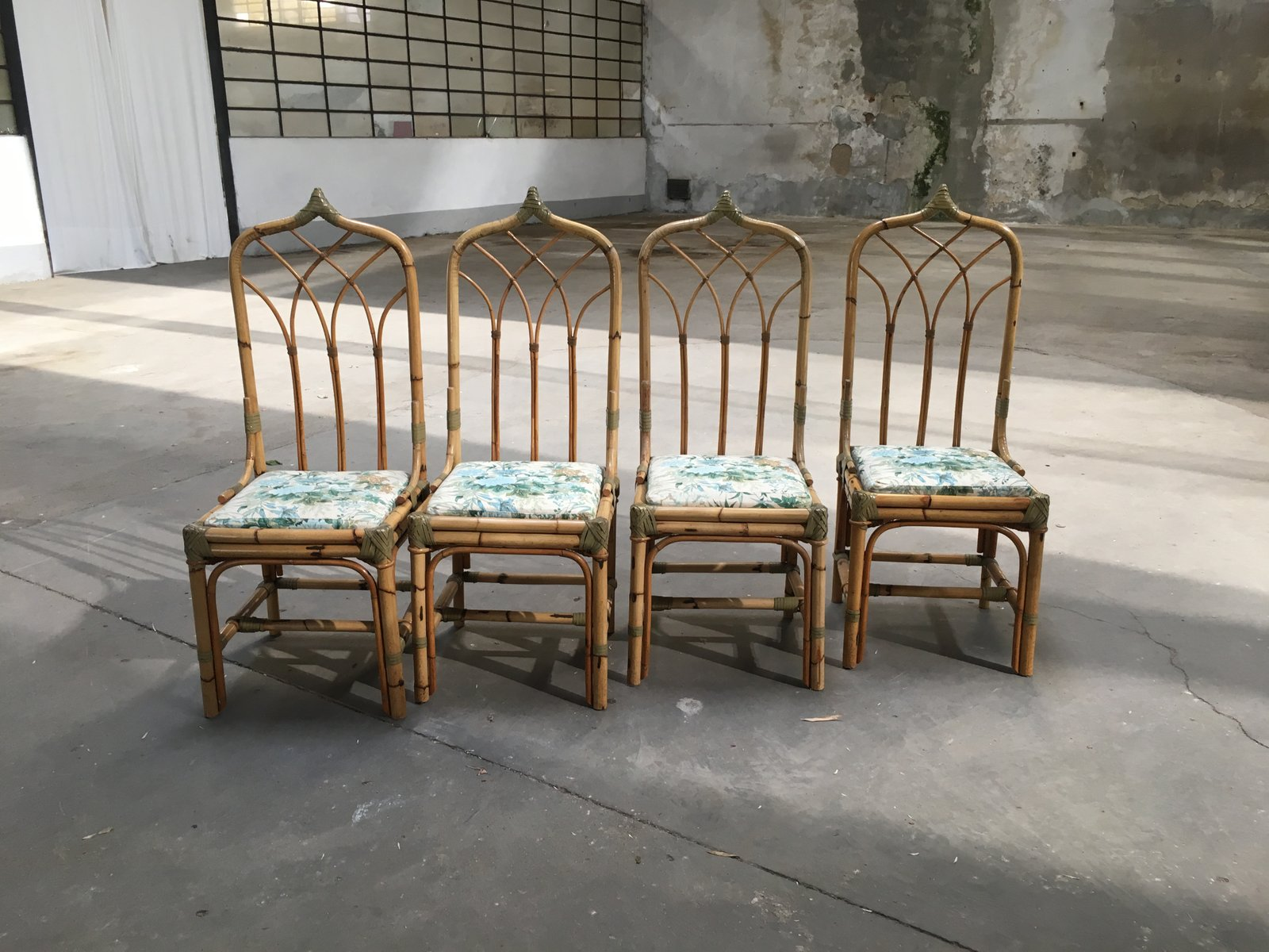 bamboo chairs chair and a half recliner canada mid century modern italian 1960s set of 4 for sale