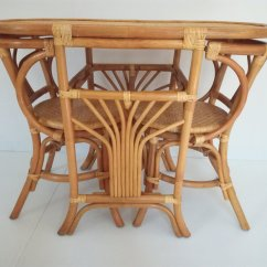 Table And 2 Chairs Cheap Upholstered Chair Ottoman Vintage Rattan Tete A For Sale At Pamono