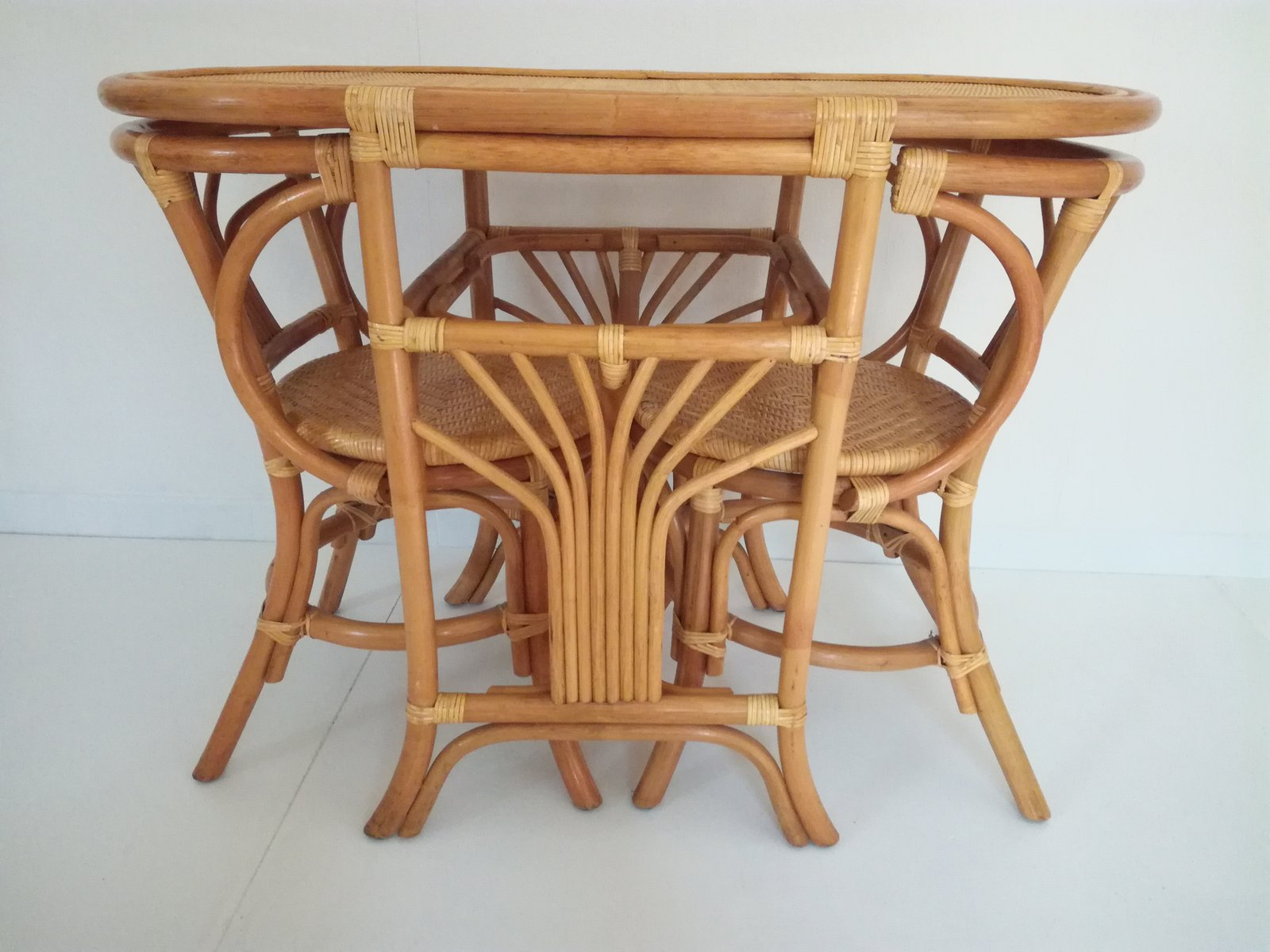 Table With 2 Chairs Vintage Rattan Tête A Tête Table 2 Chairs