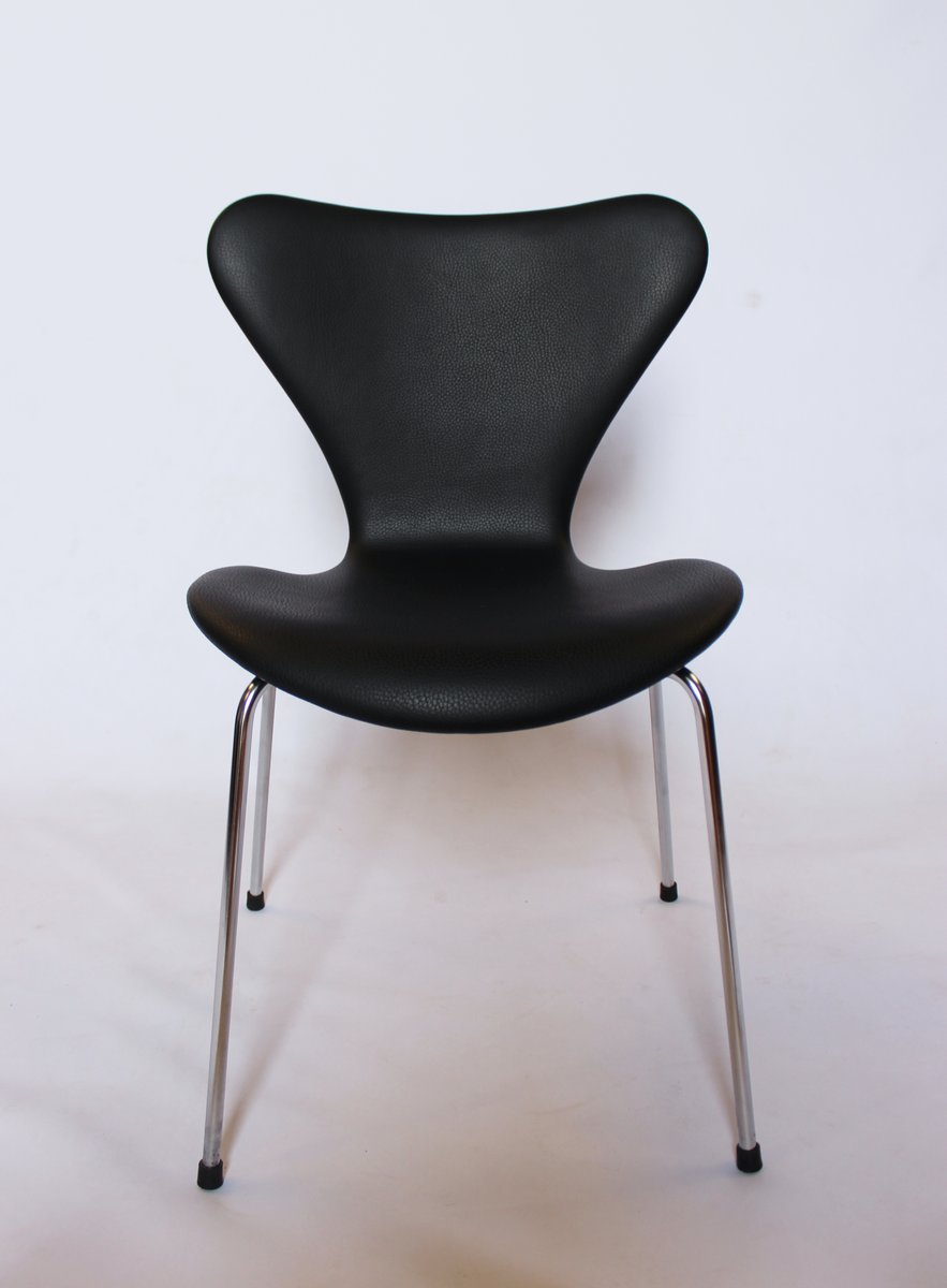 Fritz Hansen Chairs Model 3107 Black Leather Chairs By Arne Jacobsen For Fritz Hansen 1967 Set Of 6