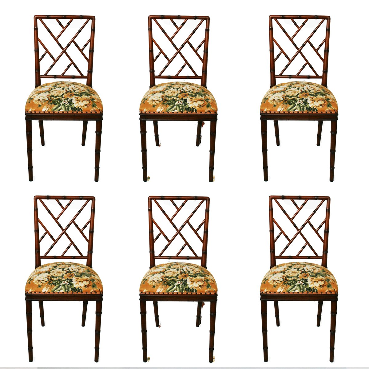 bamboo chairs graco doll high chair set hollywood regency faux of 6 for sale at pamono price 1 556 00 regular 692