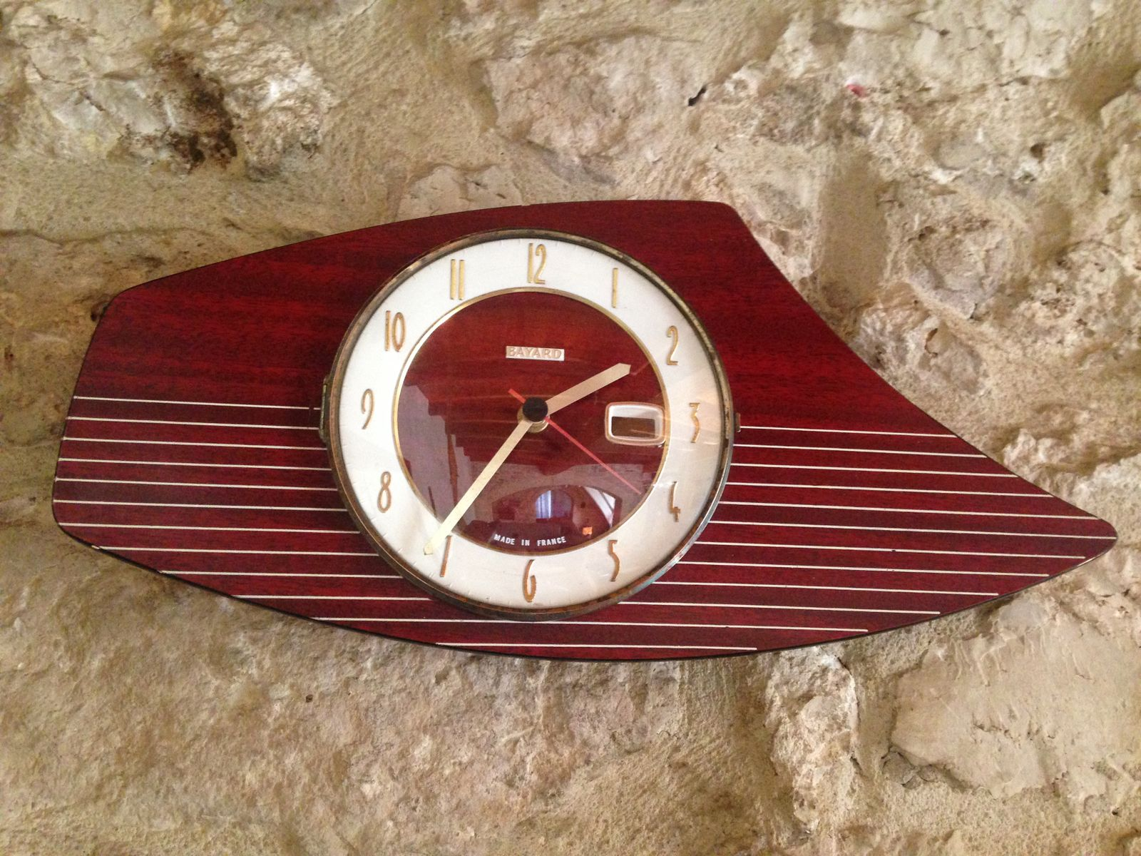 Mid-Century French Formica Wall Clock From Bayard For Sale