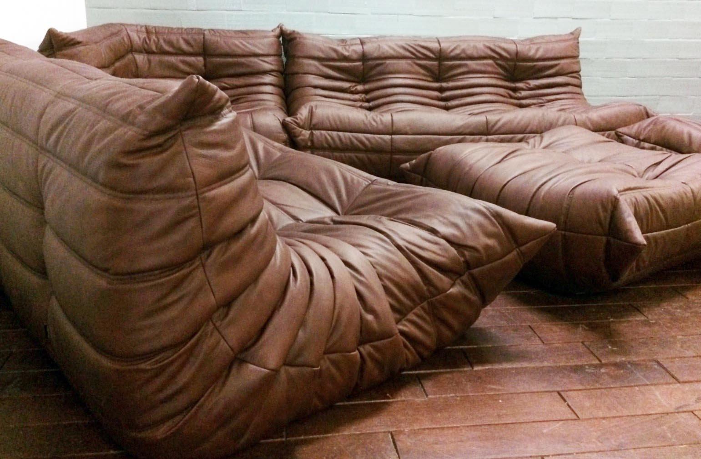 togo sofa price custom sofas miami fl vintage brown leather set by michel ducaroy for