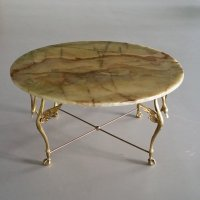 Brass Swan Coffee Table with Onyx Top, 1960s for sale at ...