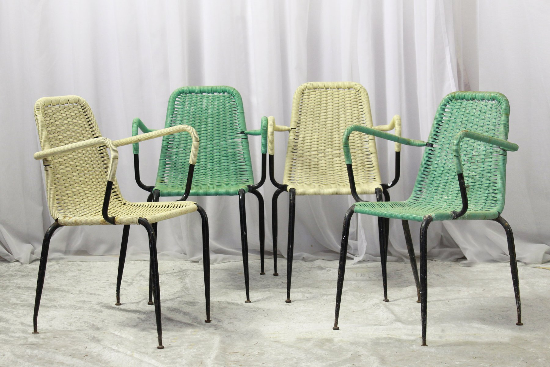woven plastic garden chairs z line executive chair 2 1950s set of 4 for sale at pamono