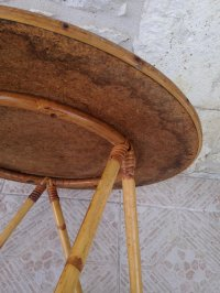Vintage Round Bamboo & Rattan Coffee Table for sale at Pamono