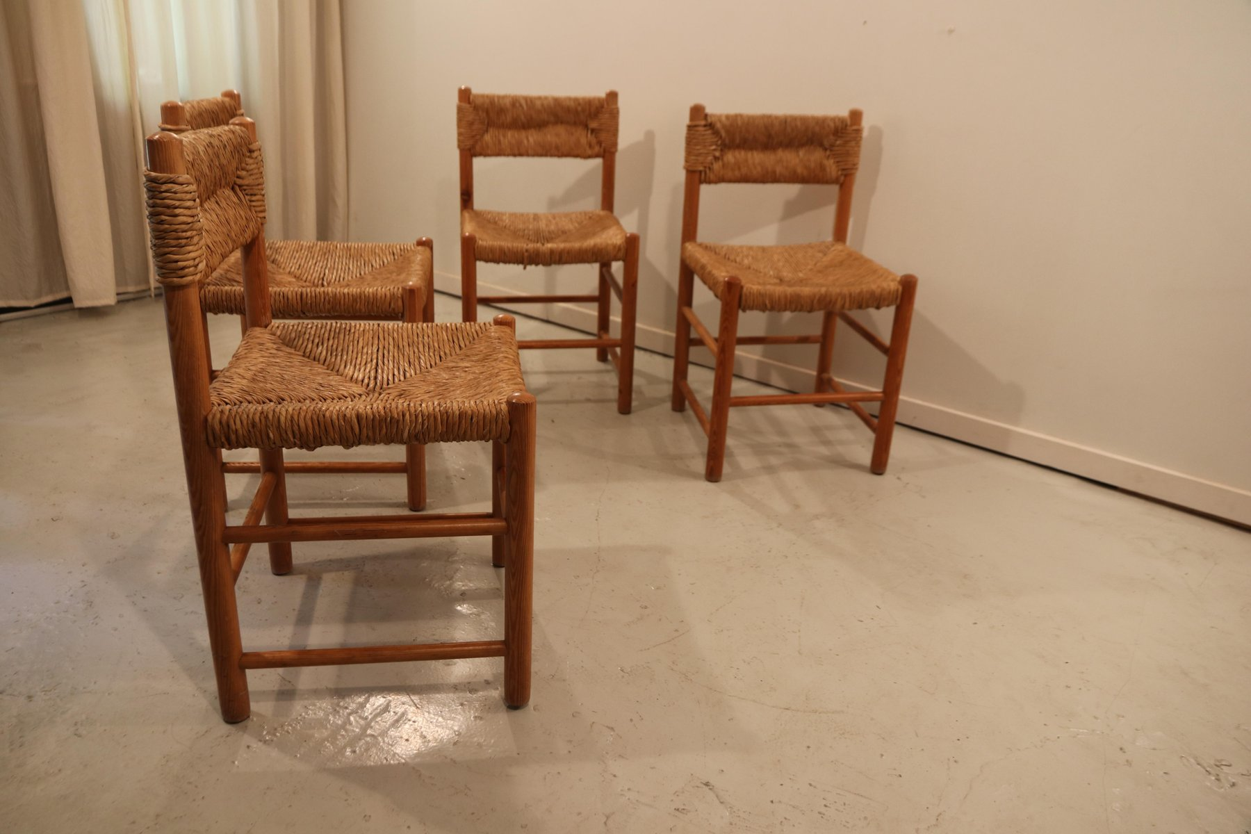 Dining Room Chairs Set Of 4 Dordogne Dining Room Chairs By Charlotte Perriand For Sentou 1960s Set Of 4