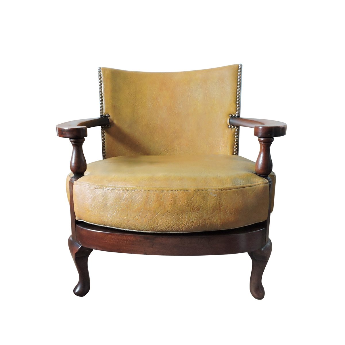 Wood Club Chair Vintage Mustard Yellow Leather And Wood Tub Chair