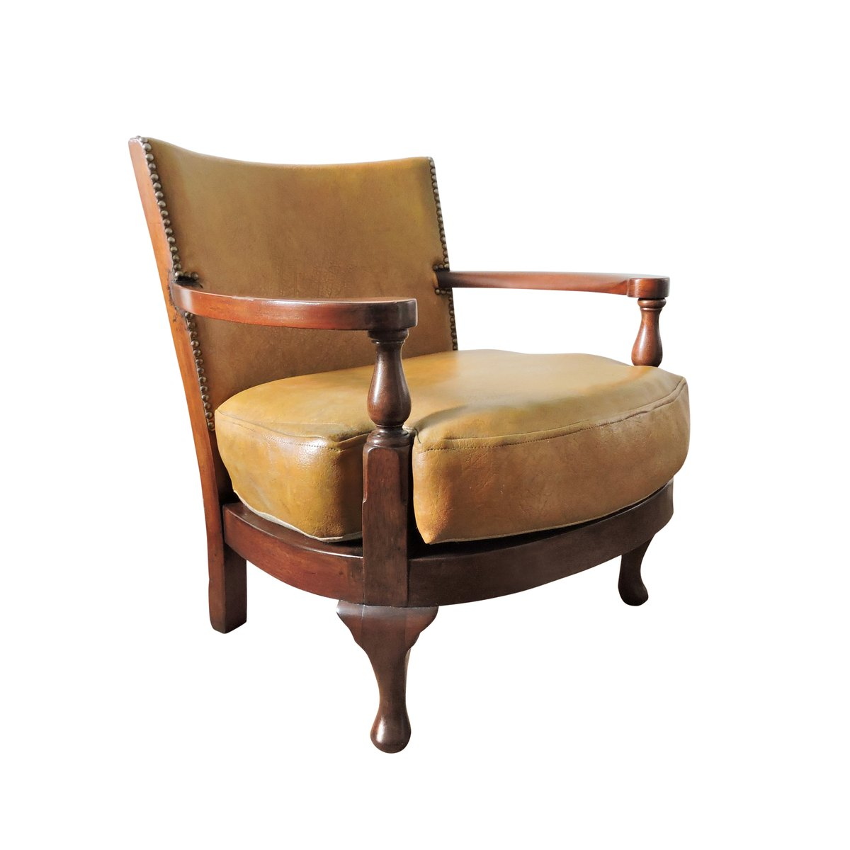 Leather And Wood Chair Vintage Mustard Yellow Leather And Wood Tub Chair