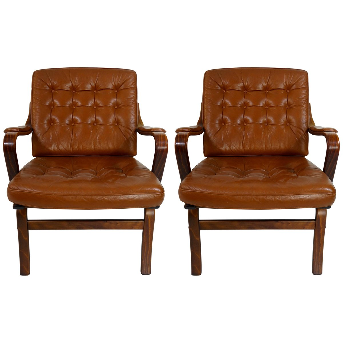 Modern Leather Chairs Mid Century Modern Rosewood Leather Armchairs From Göte Möbel Set Of 2