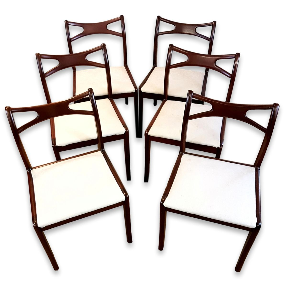 Curved Back Chair Vintage Mahogany Curved Back Dining Chairs Set Of 6