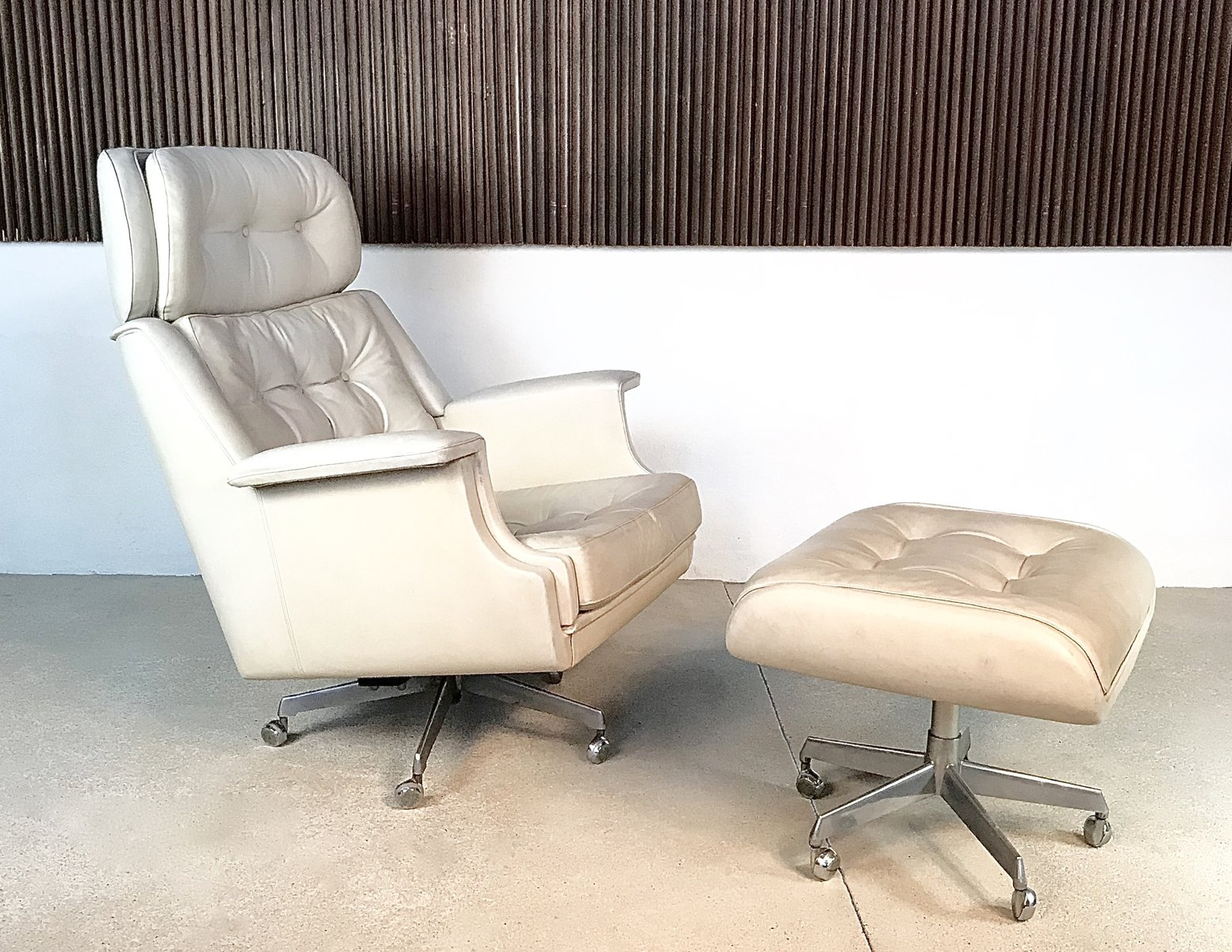 tufted chair and ottoman feet for chairs leather lounge 1960s sale at pamono